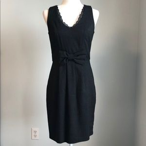 MAURICES Black Pinstripe Lace & Bow Detail Dress